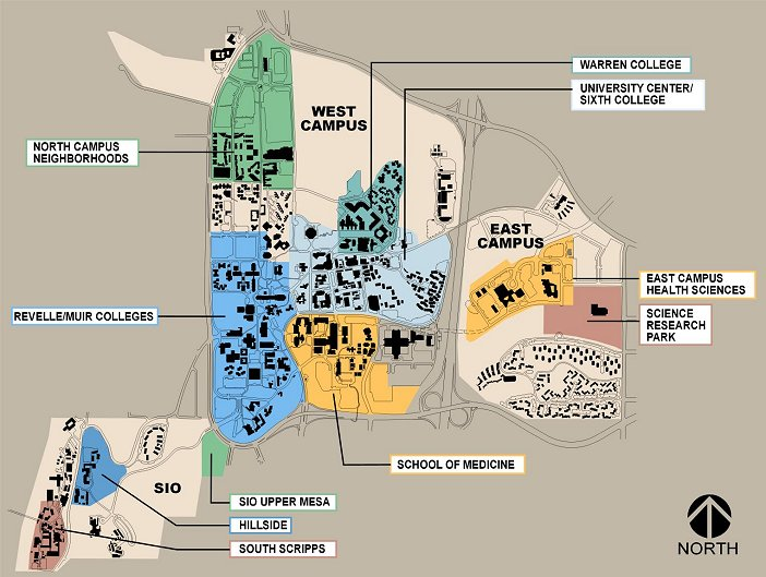 Usd Vermillion Campus Map.Map Of Ucsd Campus Bellissimonyc Com